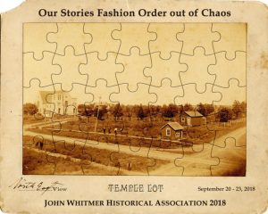 "Old photograph broken into puzzle pieces with text ""Our Stories Fashion Order Out of Chaos"""
