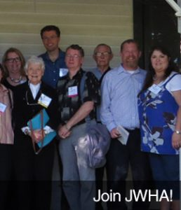 """Join JWHA!"" with photo of a group of people"