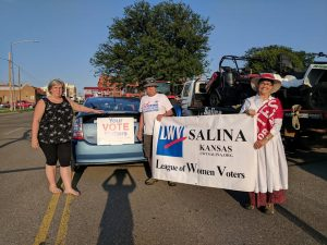 Salina league members entry into the Tri-Rivers fair parade August 2017.