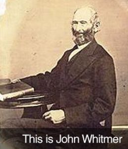 """This is John Whitmer"" with aged photo of John Whitmer"